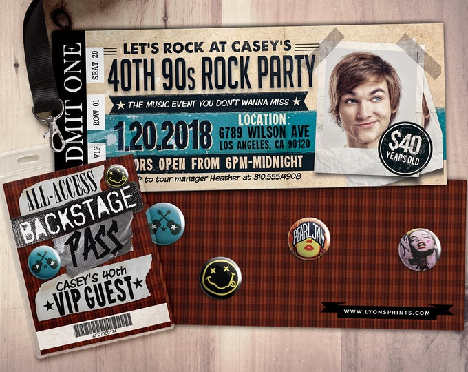 90s, Rockstar party, concert ticket, birthday party invitation, Music invitation, rockstar party, grunge,40 rocks, 30th,21st,50th, 60th,75th