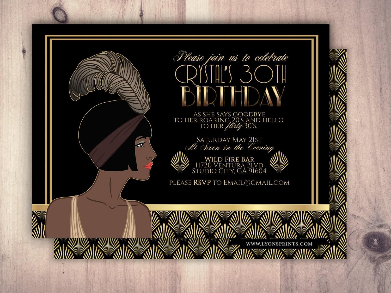Great Gatsby birthday invitation, Roaring 20\'s, Hollywood film ...