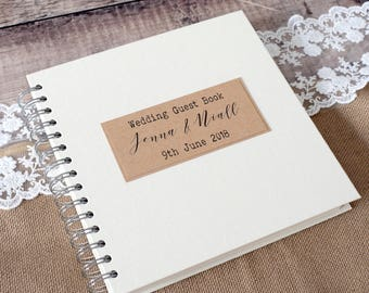 Classic Personalised Wedding Photo Guest Book, Scrapbook or Planner, Ring Bound Handmade to Order, Personalized Guestbook with Cotton Bag