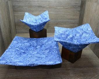 Microwave Bowl Cozies // Set of 3 // 1 Small Bowl // 1 Medium Bowl // 1 Dinner Plate // Porcelain Blue