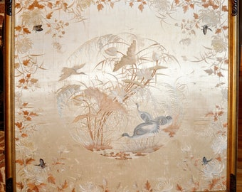 Stunningly Beautiful Large Antique Chinese Silk Embroidery Panel, 19th Century, Museum Quality