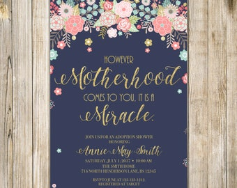 Floral MOTHERHOOD is a MIRACLE Invitation, Meet the Baby ADOPTION Invite, Parenthood Sip & See Open House, Digital Foster Baby Announcement