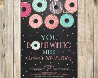 CHALKBOARD DONUT Birthday Invitation, Teal Pink Purple Donuts Birthday Invite, Girl 5th 10th Birthday, Doughnut Party, Donut Want to Miss