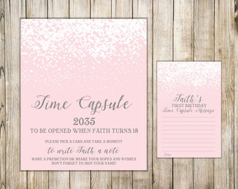 Pink Silver First Birthday TIME CAPSULE, Time Capsule Sign & Card, Winter Girl 1st Birthday Time Capsule, Baby Time Capsule, Birthday Wishes