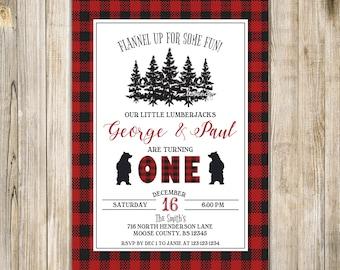 LUMBERJACK TWINS BIRTHDAY Invite, Buffalo Plaid 1st Birthday Invitation, Twins First Birthday, Lumberjack Twin Boys Birthday, Bear, Camping