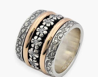 Oxidized Silver and Gold Spinner Ring, Cubic Zirconia Spinner Ring, Wide Spinner Ring, Floral Spinner Ring, Wide spinner Ring, Spinner Band