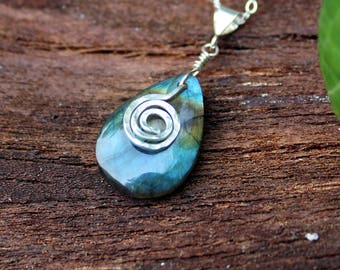 Brilliant Teardrop Labradorite with Sterling Silver Spiral Pendant Necklace - Natural Gemstone , Textured , Bright Blue Flash , Spiritual