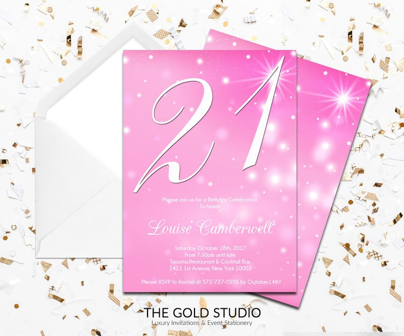 Pink Glitter 21st Birthday Party Invitation | Modern Elegant Pink 21 ...