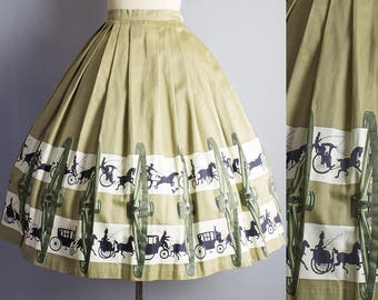 1950s Horse and Buggy Novelty  Skirt/ XS (24W/30L)