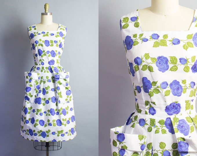 1950s Cotton Rose Sheath Dress/ Medium (36B/27W)