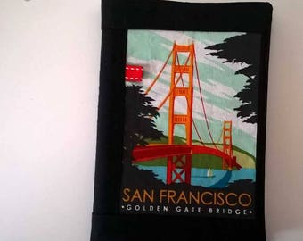 """Spiral notebook 11 cm by 17 cm, with its cover """"San Francisco - Sydney"""" fabrics."""