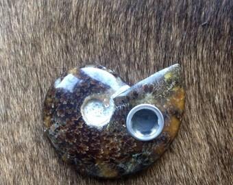 Natural Ammonite Fossil Tobacco Pipe