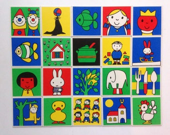 20 Miffy memory game cards by Dick Bruna - vintage children playing cards from Ravensburger game