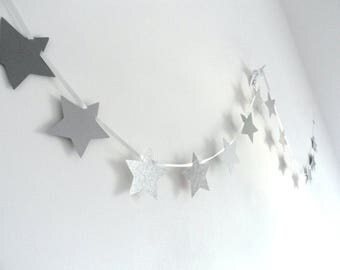 Wreath star grey Christmas Decor, parties or kids room hand-made to order