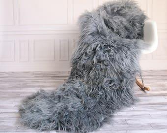 Double Icelandic Sheepskin Rug | Long rug | Shaggy Rug | Chair Cover | Area Rug | Gray Rug | Carpet | Gray icelandic Sheepskin