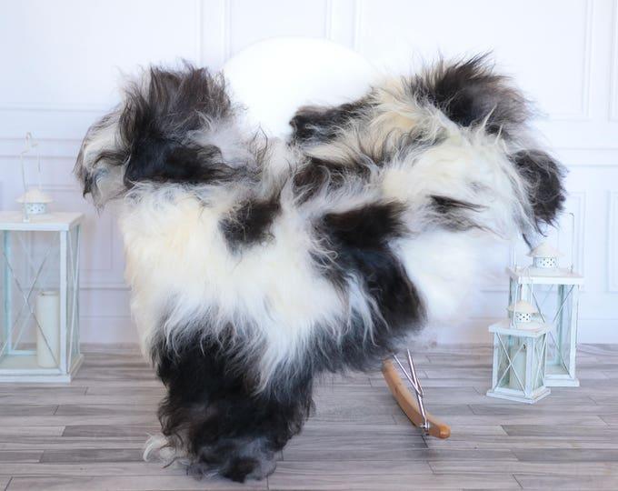Icelandic Sheepskin   Real Sheepskin Rug   Ivory Black Sheepskin Rug   Fur Rug   Christmas Decorations #ISLA9