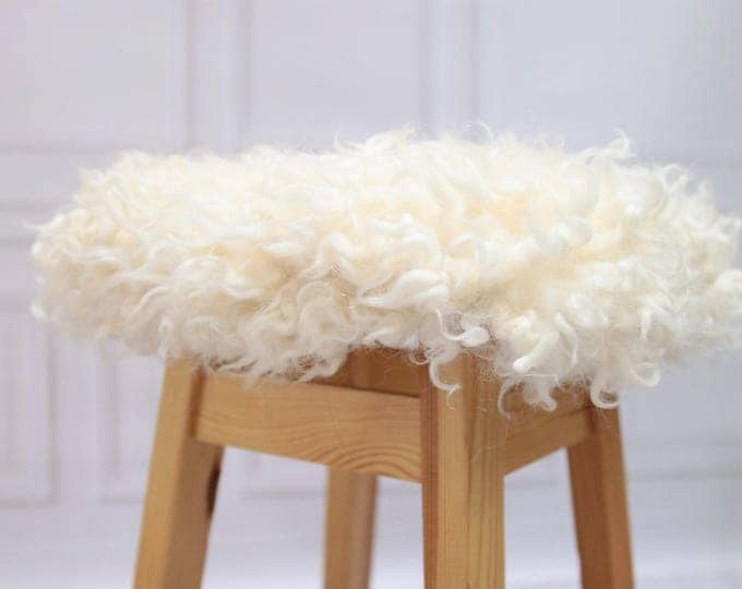 Gotland Stool Cover | Sheepskin Stool Cover | Chairl Cover | Furry Stool | Scandinavian Decor | Seat Pad | Chair Pad