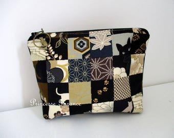 Makeup or travel kit cotton patchwork cats