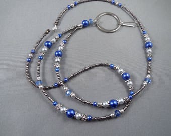 "Beaded breakaway lanyard blue and gray glass pearls and crystals 32"" to 44""ID badge holder with magnetic or toggle clasp  ,unique fashion"