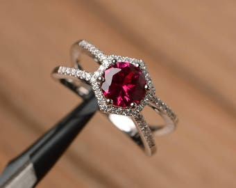 lab red ruby ring anniversary ring solid sterling silver ring round cut red gemstone ring July birthstone ring