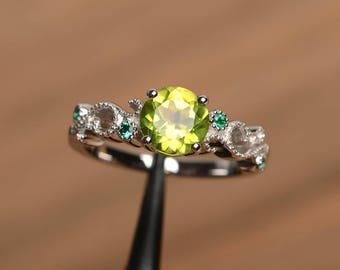 promise ring natural peridot silver ring August birthstone round cut green gemstone sterling silver