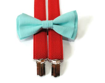 boys birthday outfit, mint blue linen bow tie & red suspenders, kids bowtie and suspenders