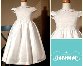 First Communion Dress, White Shantung Fabric, Hand Made Dress, smocked dress sizes 6 -12