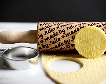 Personalized mini rolling pin, laser engraved rolling pin with name, personalized wedding gift, custom name