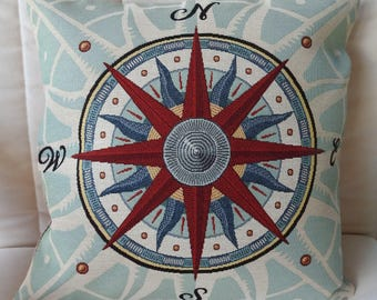 Handmade Compass Tapestry Cushion Cover - Free Shipping