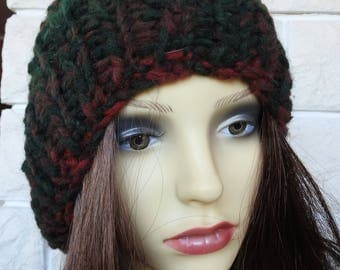 Hand Knitted Women's Dark Multicoloured Ribbed Winter Hat With A Brown Pompom - Free Shipping