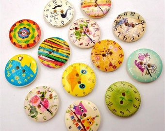 """10 Assorted Round Wooden Buttons  3/4"""" With for Sweaters or Crafts"""