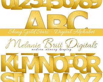 SHINY GOLD stars, metallic ALPHABET, digital alphabet clipart, gold alphabet set, gold metallic font, scrapbook alphabet, printable alphabet