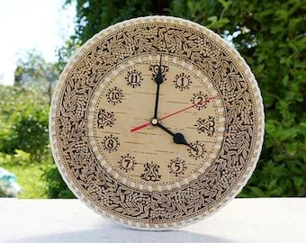 rustic wall clock, rowan ornament, wooden clock, birch bark, wood carved wall clock, rustic home decor, wall art, primitive home decor