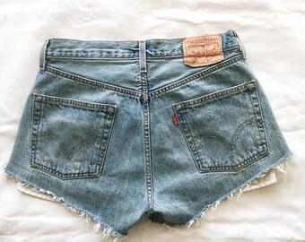 Vintage High-Waisted Levi's 501 Denim Shorts // size 6-8 // women's, cut-off, 90s, cotton, booty shorts, frayed, boho, bohemian