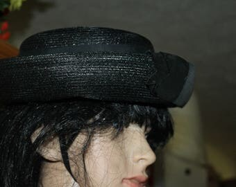 Vintage Hat, Black with Bow, and Rim, Everyday Use or Can be Used for a Funeral, Church or Easter, or Other Special Days, Great Vintage