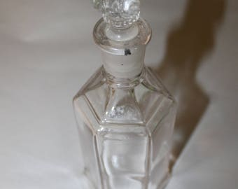 Vintage Alcohol Fancy Decanter, This is Smaller However, Would Hold Whiskey or Vodka Well, Frosted Glass Stopper, Six sided Bottle, Ornate