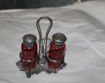 Antique Salt & Pepper Shakers Silver Plated Stand for Them,  1 of the Feet is Missing it is included to be put back on Manufacturing Bubbles