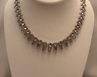 Vintage Sterling Rhinestone Necklace, Safety Chain & Rhinestone Clasp
