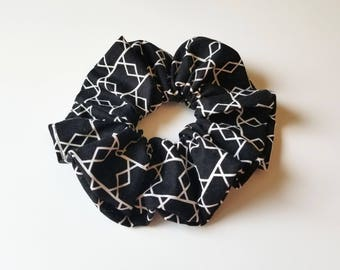 Large Black White Triangle Scrunchie Hair Tie Cotton Cute geometric