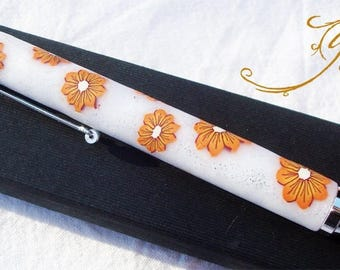 refillable ballpoint pen in polymer clay orange floral pattern