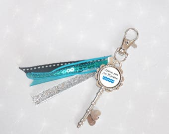 "Bag/key shape key/silver and turquoise jewelry ""I can't I pool"""