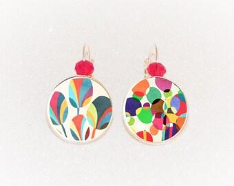 Earrings cabochon silver geometric patterns