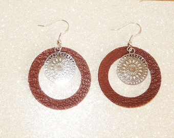Earrings ' earrings Silver 925/camel leather rosette filigree hoop clip