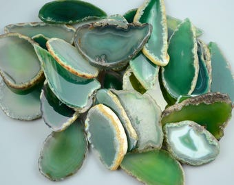 "10 pieces Agate Slices Stone Slab - 2""-3""- for Wedding Name Cards Namecards Place Cards - Green"
