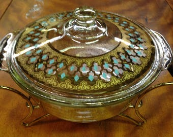 Vintage Fire King Casserole Dish with Stand, Georges Briard 22 Carrat Gold & Turquoise Design, Culver Glassware Company
