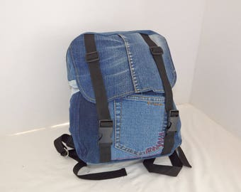 Red edged: Upcycled denim backpack