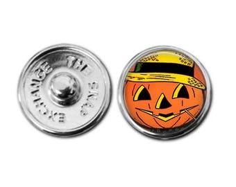 Halloween retro pumpkin devil snap leather bracelet  noosa inspired gingersnaps inspired pumpkin charm pumpkin necklace halloween jewelry