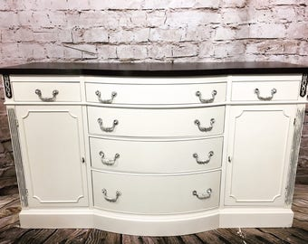 SOLD~Antique White Buffet-Sideboard-Credenza-Server-Dresser-Cabinet-Table Vintage
