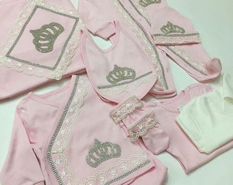 Infant Baby 10 Piece Pink Jeweled Crown Layette Set