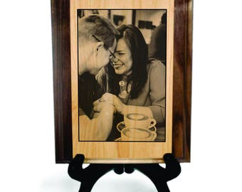 Laser Engraved Photo, Engraved wood gift, 5 year Anniversary, Fifth Anniversary Gift, Custom Wood Gift, Photo on Wood, 5th Anniversary Gift